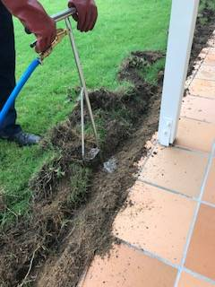 Termite barrier trench being filled