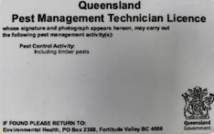 The back of a Queensland pest control license