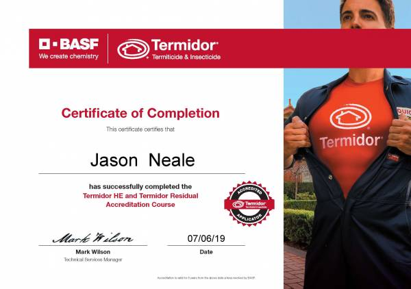 Jason Neale - Sunnystate Pest Control is an Accredited Termidor Applicator