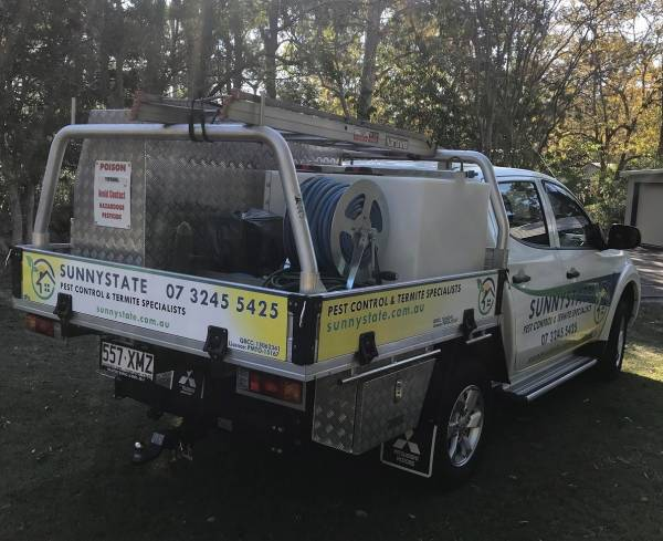 Sunnystate pest control truck showing new sign writing